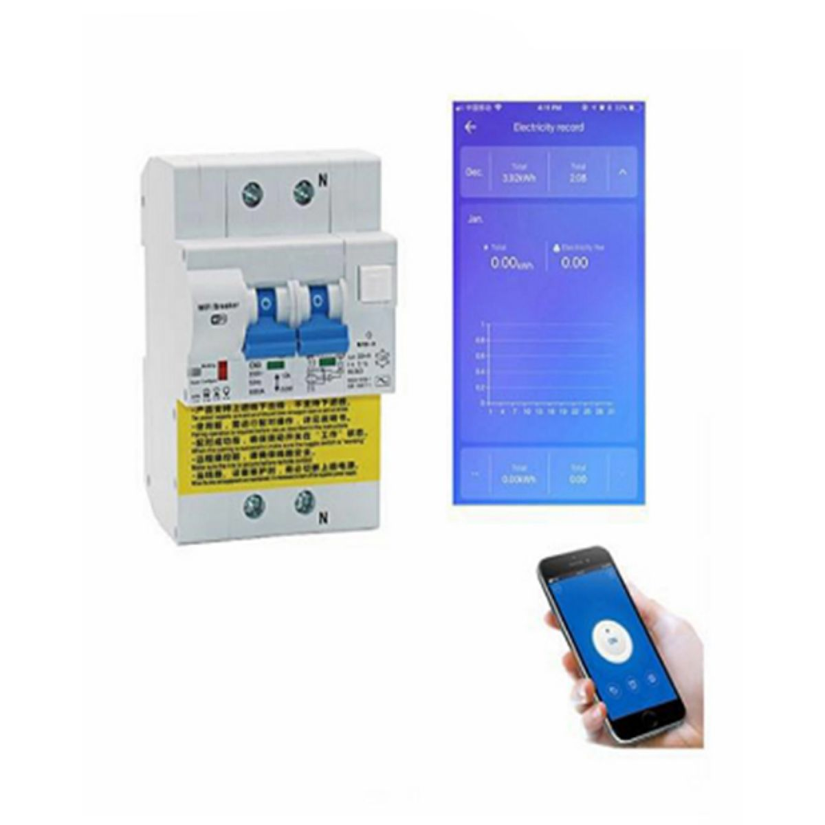 Llave Termica Wifi 2 Fases 220vac 25a Med Consumo